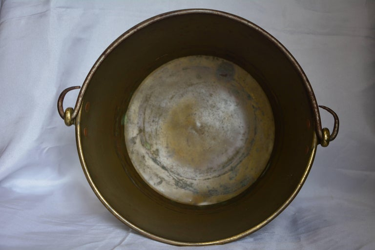 Brass Bucket with Handle from France Midcentury In Fair Condition For Sale In Cookeville, TN