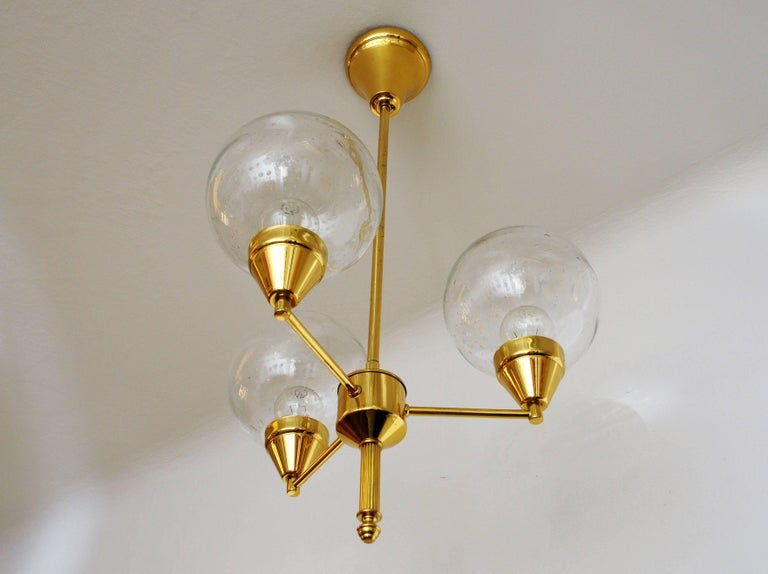 Scandinavian Modern Midcentury Brass Ceiling Lamp with Three Clear Glass Domes 1960s, Sweden For Sale