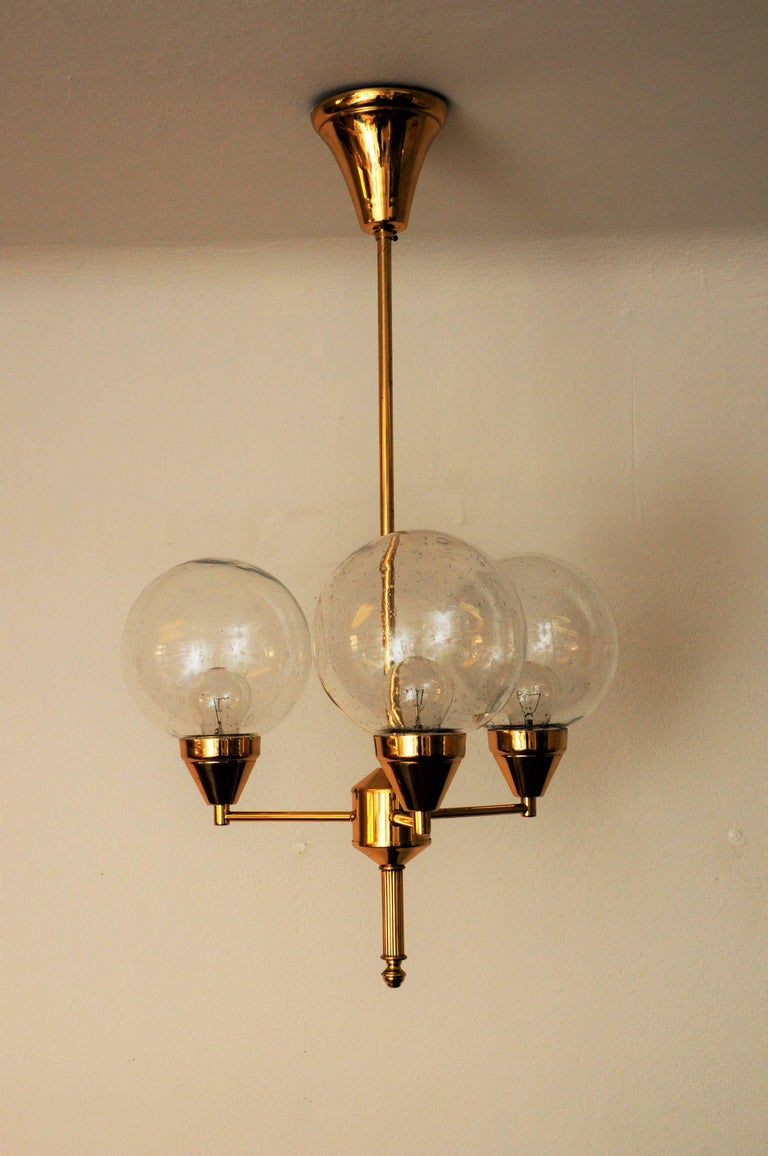 Swedish Midcentury Brass Ceiling Lamp with Three Clear Glass Domes 1960s, Sweden For Sale