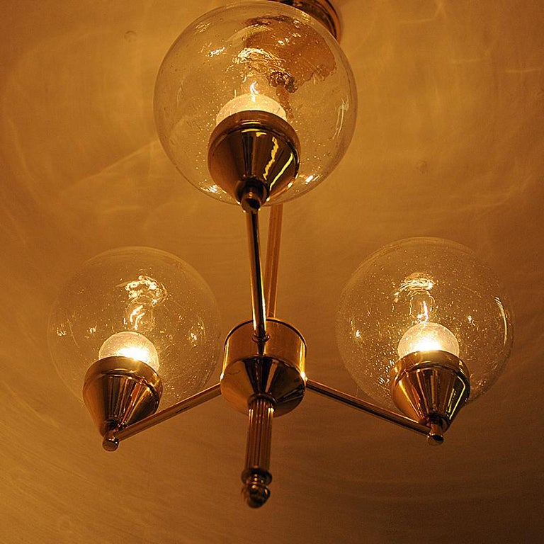 Midcentury Brass Ceiling Lamp with Three Clear Glass Domes 1960s, Sweden For Sale 2