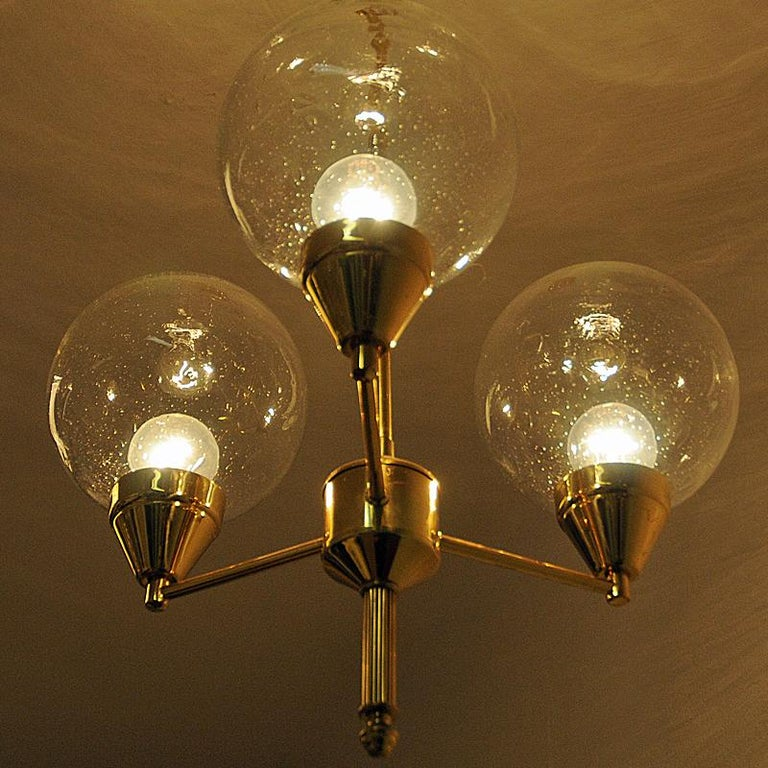 Midcentury Brass Ceiling Lamp with Three Clear Glass Domes 1960s, Sweden For Sale 3