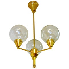 Midcentury Brass Ceiling Lamp with Three Clear Glass Domes 1960s, Sweden