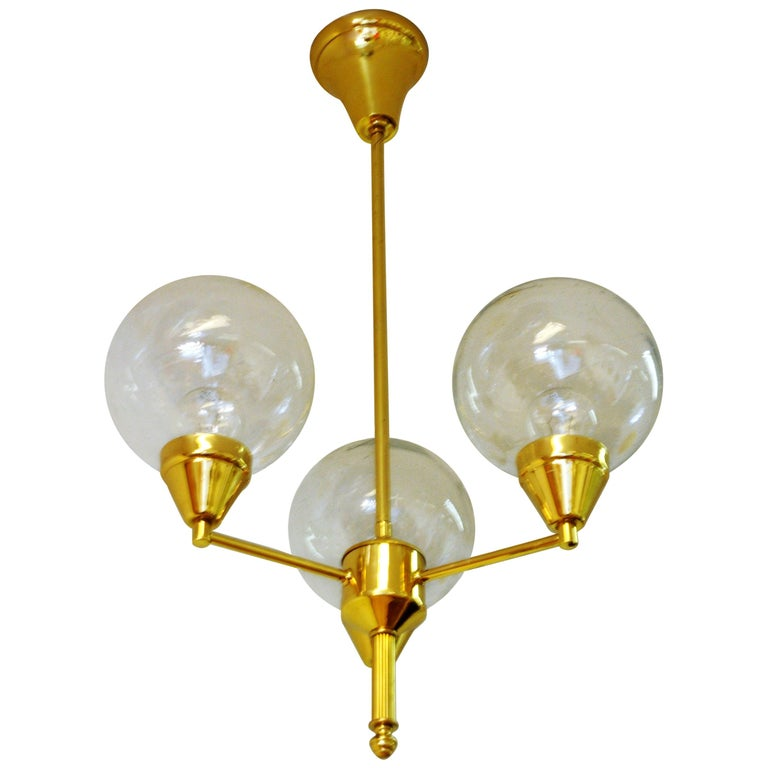 Midcentury Brass Ceiling Lamp with Three Clear Glass Domes 1960s, Sweden For Sale