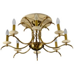 Midcentury Brass Chandelier Flush Mount 1950s in the Style of or from Gio Ponti