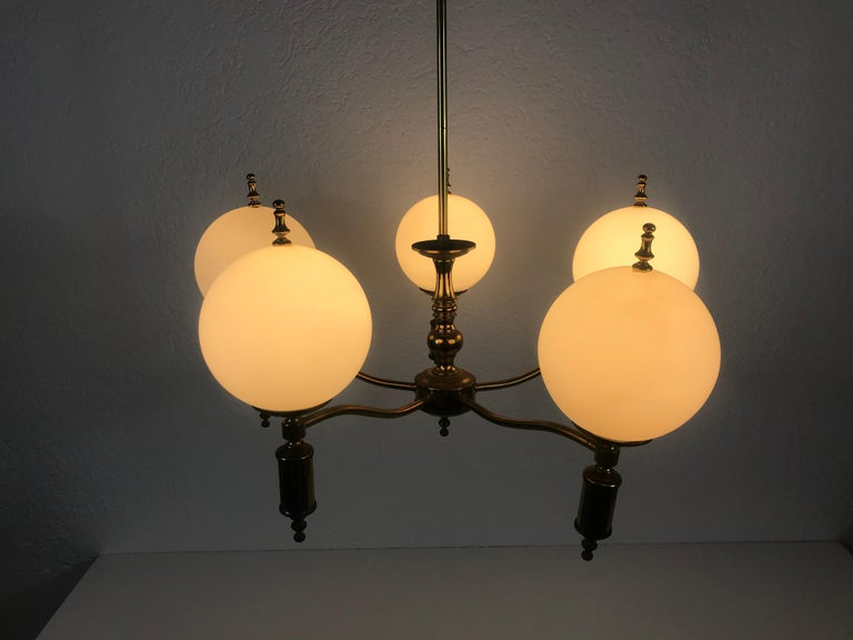 Midcentury Brass Chandelier in the Style of Maison Lunel, 1950s For Sale 3