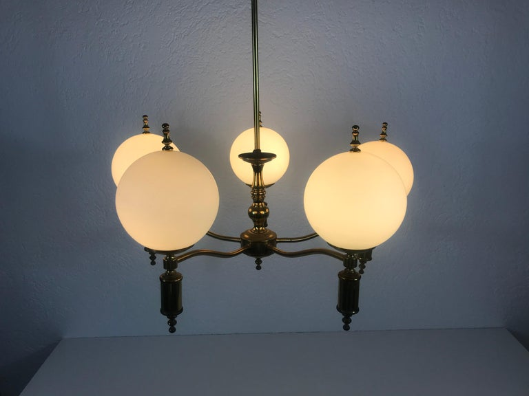 Midcentury Brass Chandelier in the Style of Maison Lunel, 1950s For Sale 4