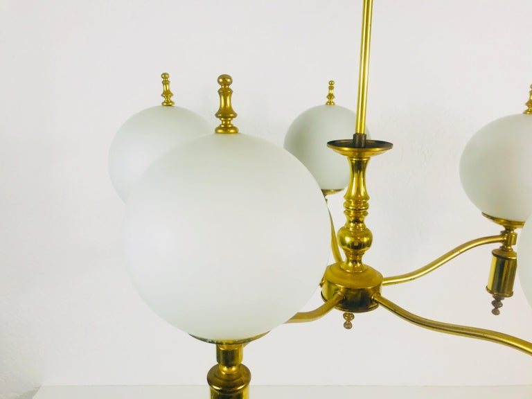 Mid-20th Century Midcentury Brass Chandelier in the Style of Maison Lunel, 1950s For Sale