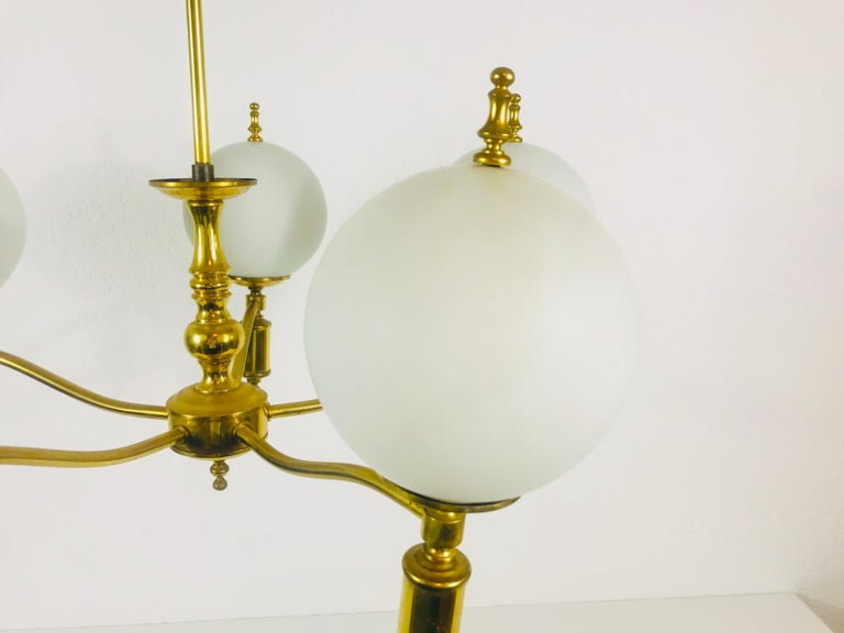 Metal Midcentury Brass Chandelier in the Style of Maison Lunel, 1950s For Sale