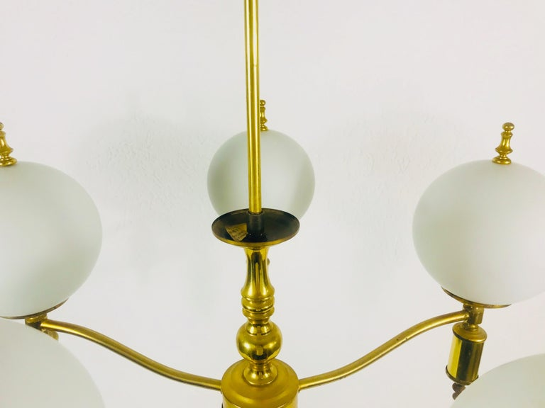 Midcentury Brass Chandelier in the Style of Maison Lunel, 1950s For Sale 1