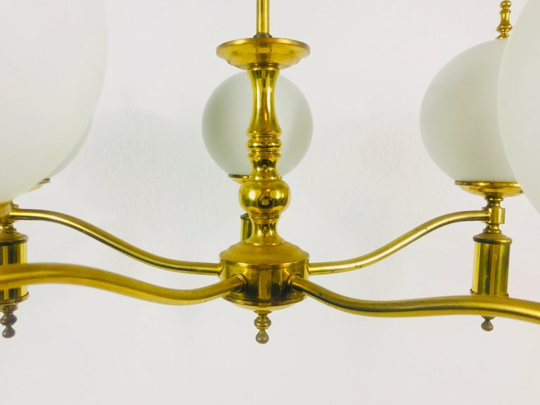 Midcentury Brass Chandelier in the Style of Maison Lunel, 1950s For Sale 2