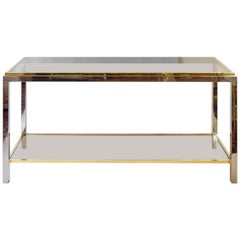 Midcentury Brass, Chrome and Glass Console Table, by Jean Charles
