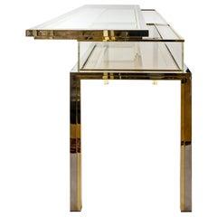 Midcentury Brass, Chrome and Glass Console Table/Showcase, Design Romeo Rega