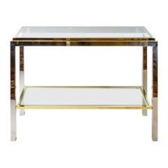 Midcentury Brass, Chrome and Glass Console Table, Signed Jean Charles