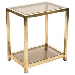Midcentury Brass, Chrome and Smoked Glass Italian Coffee Table, Romeo Rega 1970