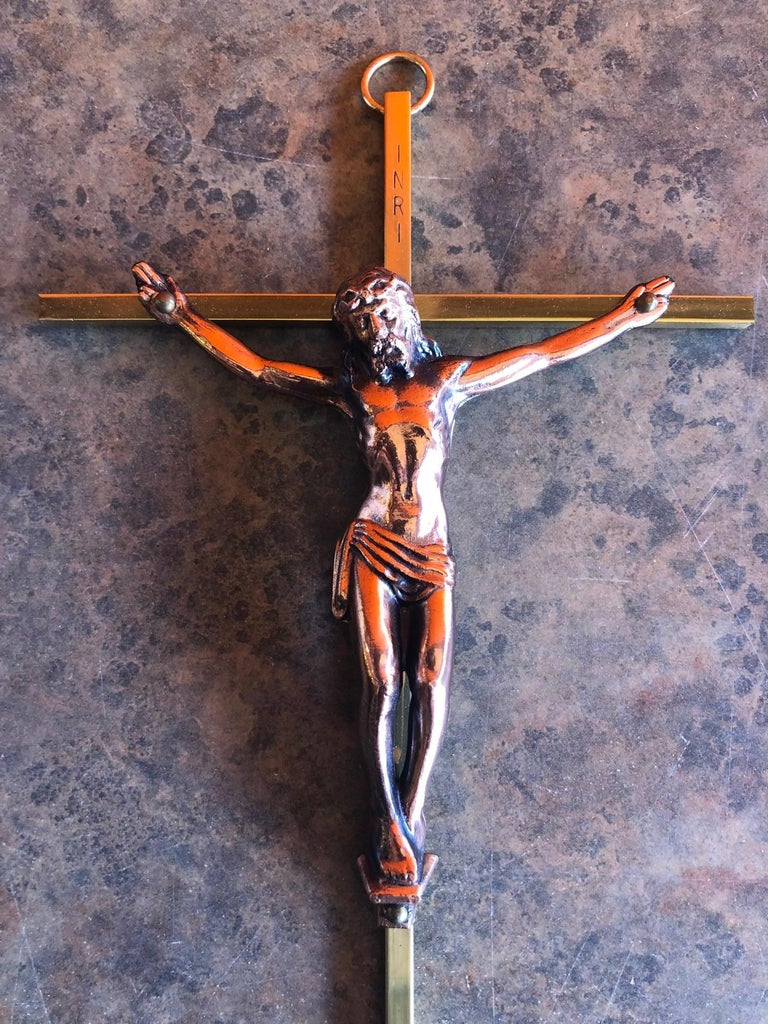 Mid-Century Modern Midcentury Brass Crucifix with Copper Jesus For Sale