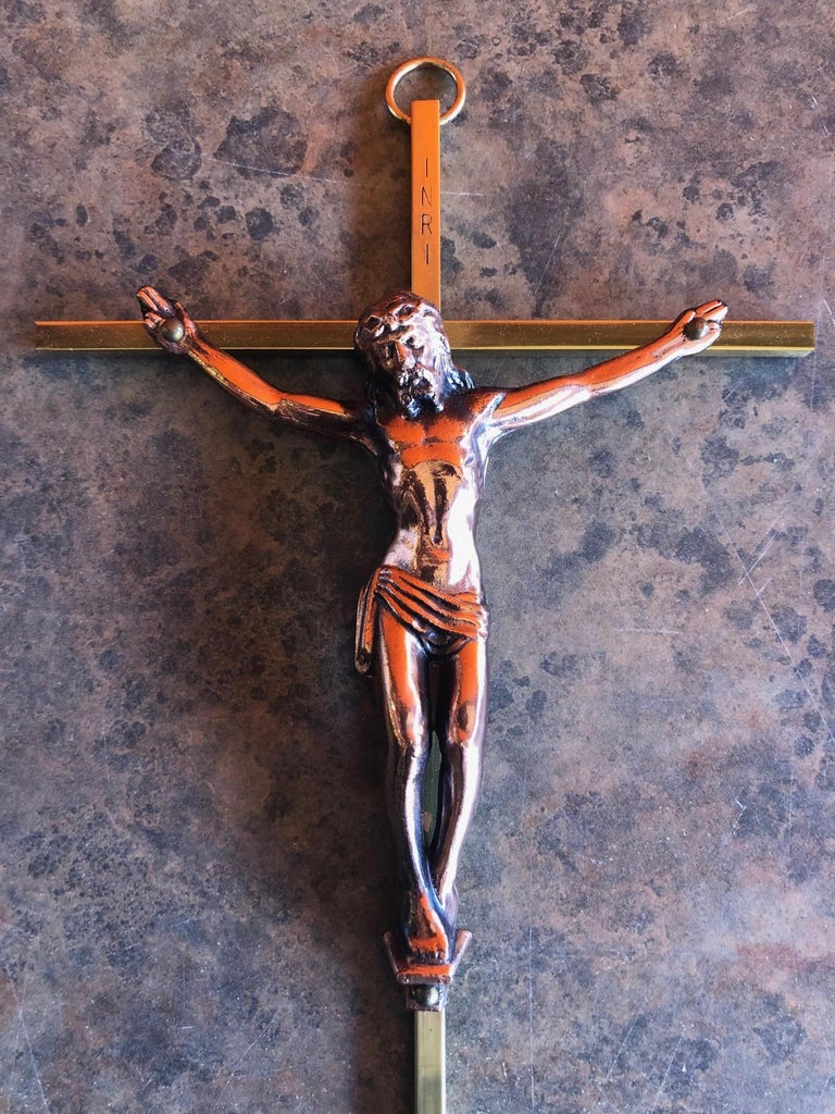 American Midcentury Brass Crucifix with Copper Jesus For Sale