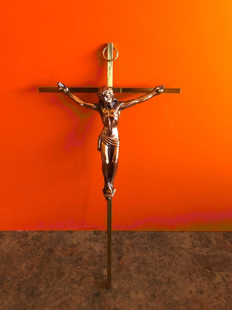 20th Century Midcentury Brass Crucifix with Copper Jesus For Sale