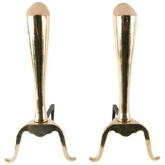 Midcentury Brass Exclamation Andirons