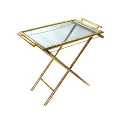Midcentury Brass Faux Bamboo Butlers Table with Smoked Glass Top