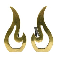 Midcentury Brass Flame Shaped Andirons