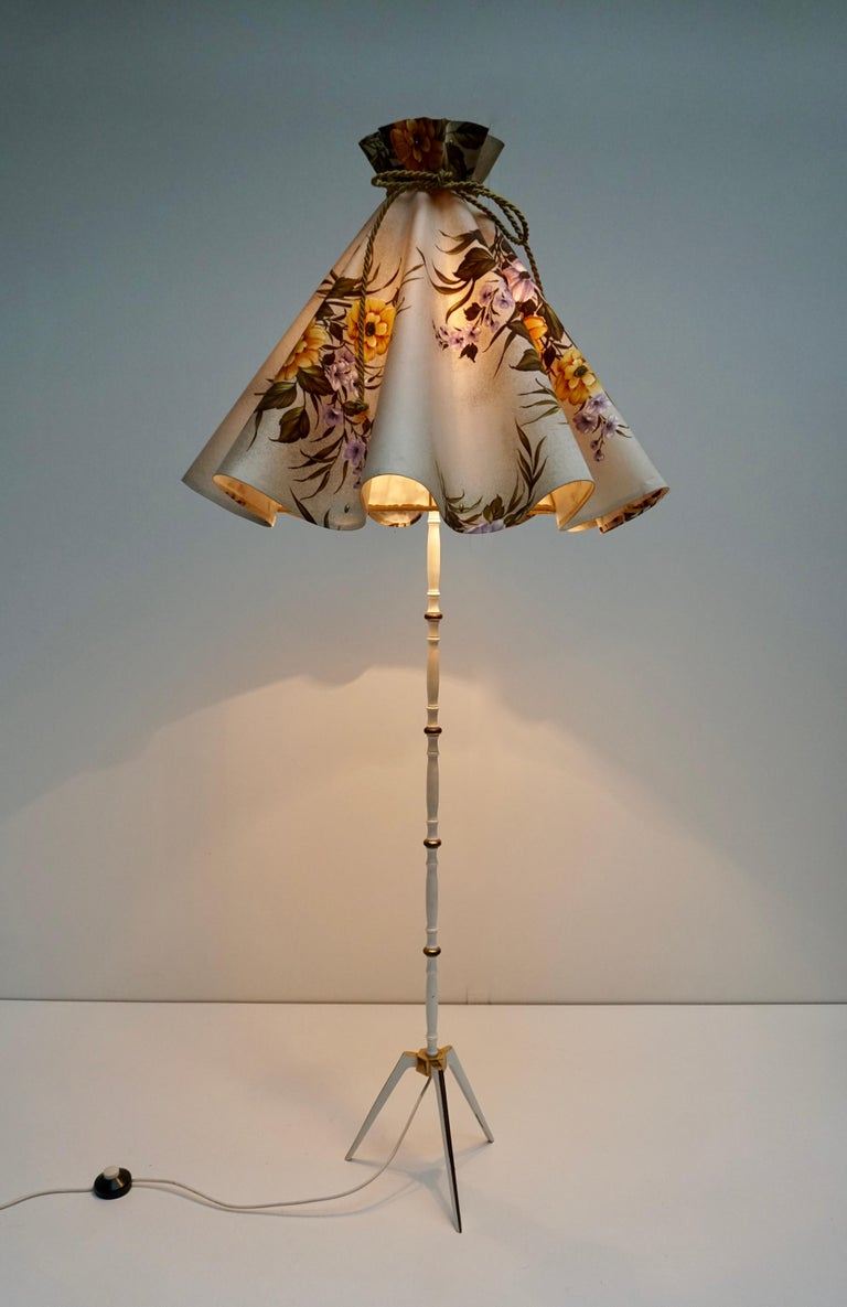 Beautiful vintage brass floor lamp with original shade, Italy.