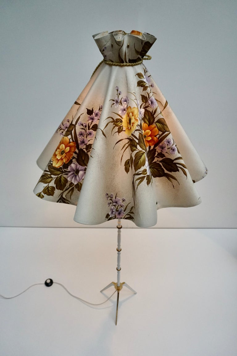 20th Century Midcentury Brass Floor Lamp, Flower Shade, Italy For Sale