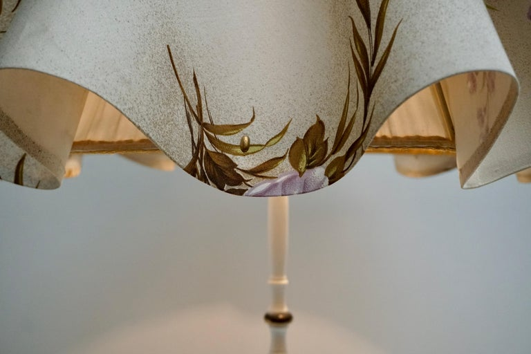 Midcentury Brass Floor Lamp, Flower Shade, Italy For Sale 3