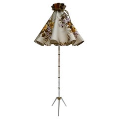 Midcentury Brass Floor Lamp, Flower Shade, Italy