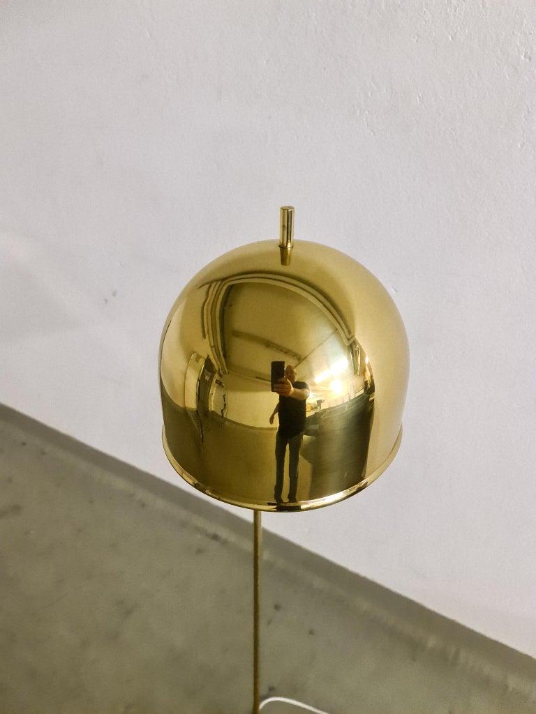 Chrome Midcentury Brass Floor Lamp, Model G-075, Bergboms, Sweden, 1960s For Sale