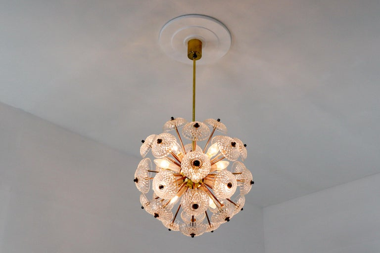Mid-Century Modern Midcentury Brass Floral Chandelier in the Style of Emil Stejnar, Europe, 1960s For Sale