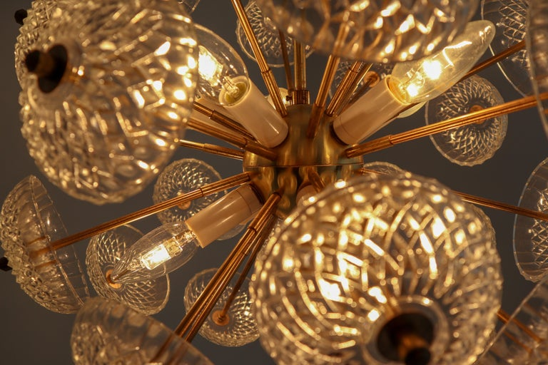 European Midcentury Brass Floral Chandelier in the Style of Emil Stejnar, Europe, 1960s For Sale