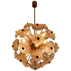 Midcentury Brass Floral Chandelier in the Style of Emil Stejnar, Europe, 1960s