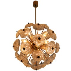 Midcentury Brass Floral Chandeliers in the Style of Emil Stejnar, Europe, 1960s