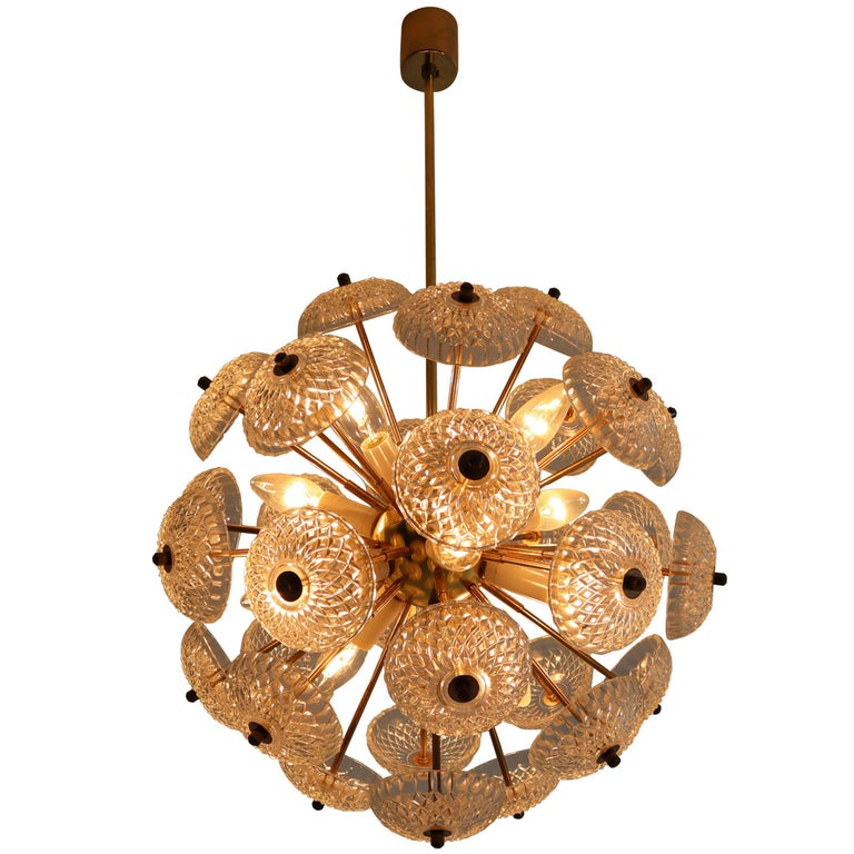 Midcentury Brass Floral Chandeliers in the Style of Emil Stejnar, Europe, 1960s For Sale