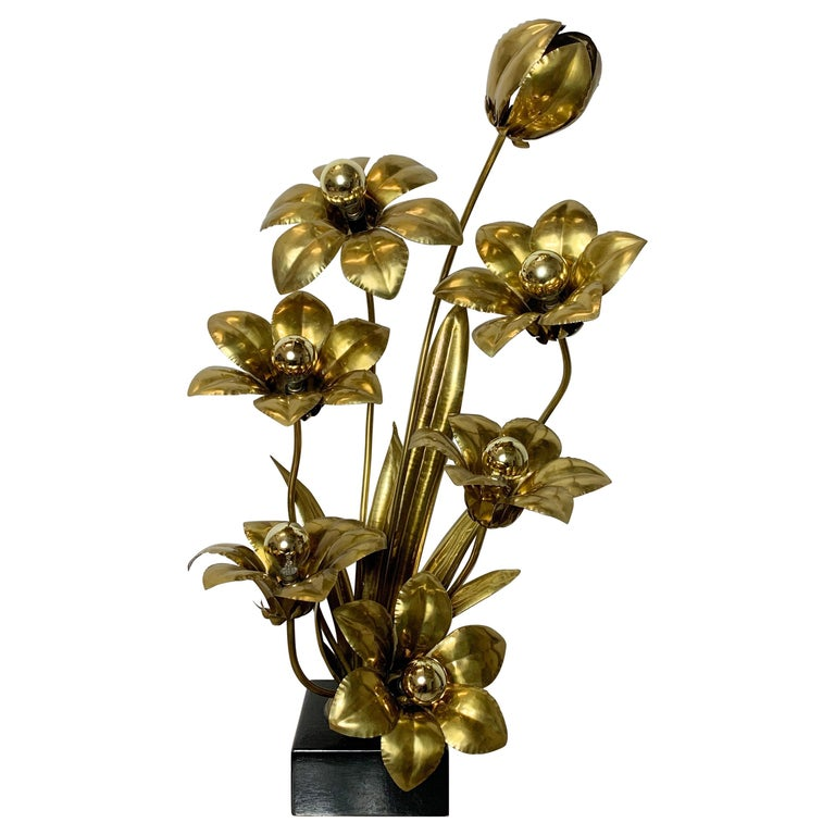 Midcentury Brass Flower Table Lamp, 1970s For Sale