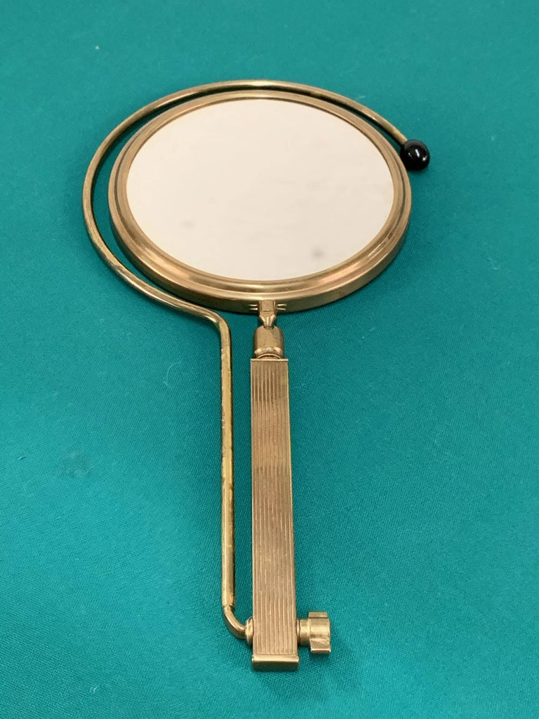 Midcentury Brass French Adjustable Table Mirror with a Two-Sides Stand, 1950s For Sale 8