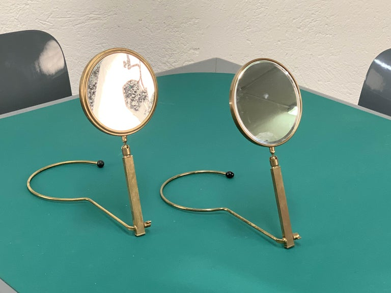 Midcentury Brass French Adjustable Table Mirror with a Two-Sides Stand, 1950s For Sale 12