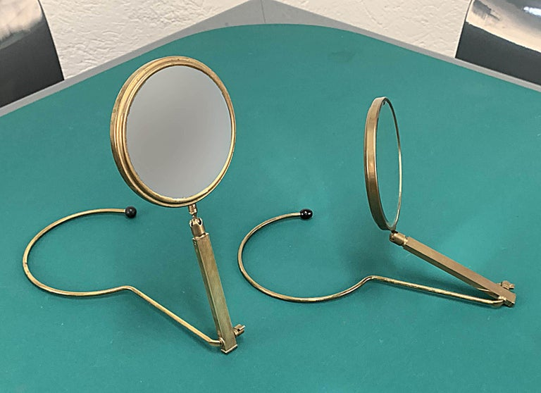 Midcentury Brass French Adjustable Table Mirror with a Two-Sides Stand, 1950s For Sale 13