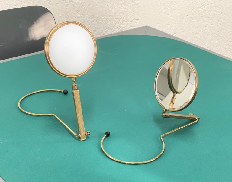 Midcentury Brass French Adjustable Table Mirror with a Two-Sides Stand, 1950s For Sale 14