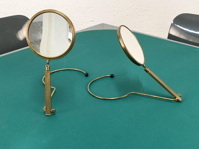 Midcentury Brass French Adjustable Table Mirror with a Two-Sides Stand, 1950s For Sale 15