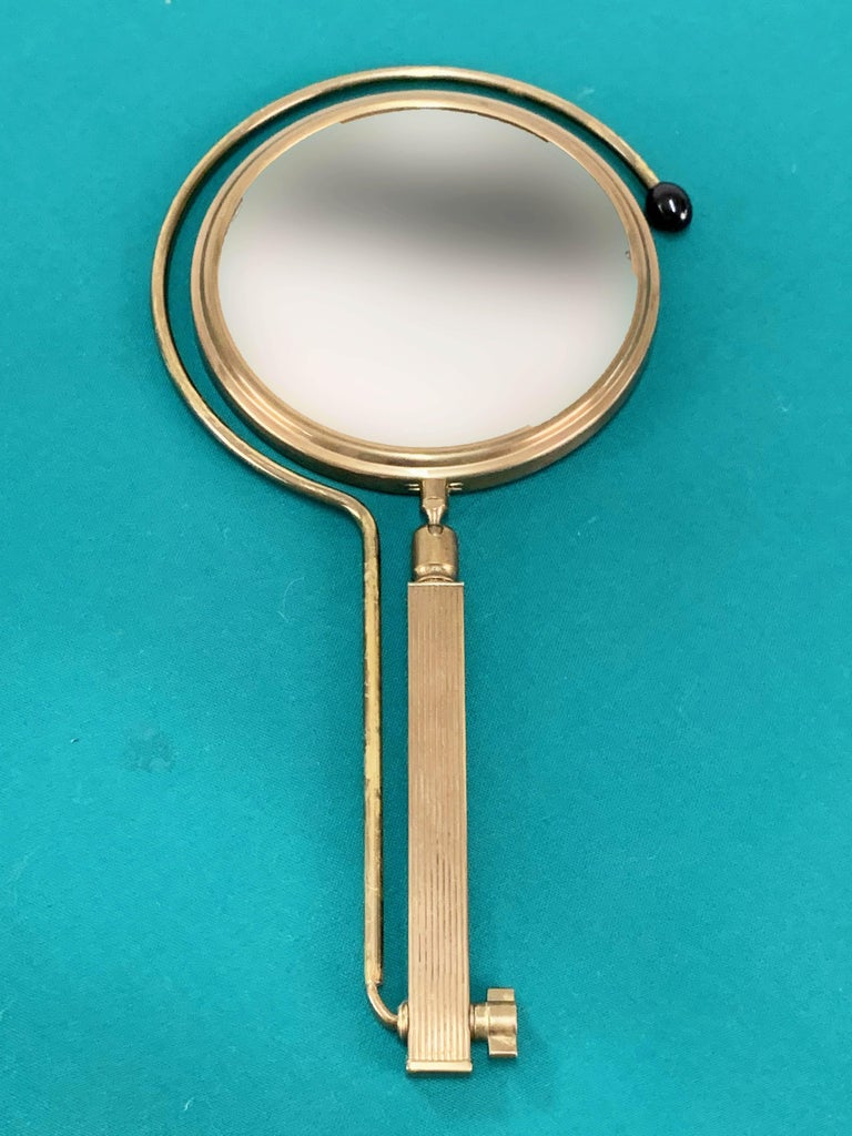 Midcentury Brass French Adjustable Table Mirror with a Two-Sides Stand, 1950s For Sale 1