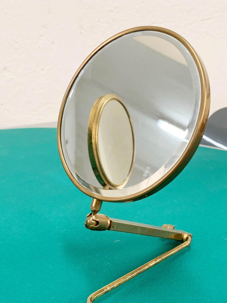 Midcentury Brass French Adjustable Table Mirror with a Two-Sides Stand, 1950s For Sale 2
