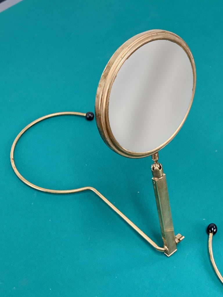 Midcentury Brass French Adjustable Table Mirror with a Two-Sides Stand, 1950s For Sale 4