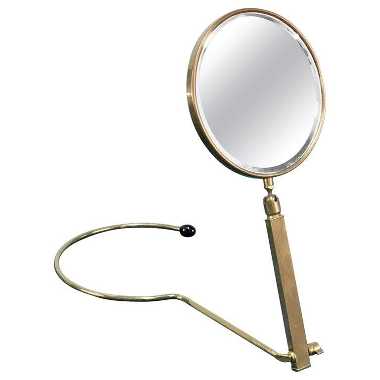 Midcentury Brass French Adjustable Table Mirror with a Two-Sides Stand, 1950s For Sale