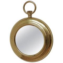 Midcentury Brass French Pocket Watch Mirror 'No.2'
