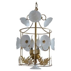 Midcentury Brass Frosted Glass Flowers Cylinder Three-Light Lantern