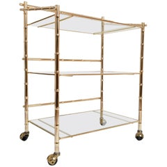 Midcentury Brass Gilt Three-Tier Bar Cart Drinks Trolley, France, circa 1960