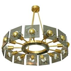 Midcentury Brass-Glass Chandelier by Gino Paroldo, Fontana Arte Style, 1970s