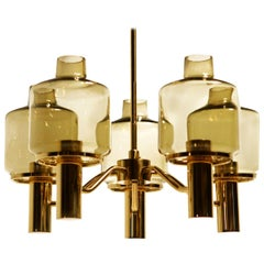 Midcentury Brass Glass Chandelier Hans-Agne Jakobsson, 1960s
