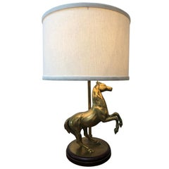 Midcentury Brass Horse Lamp